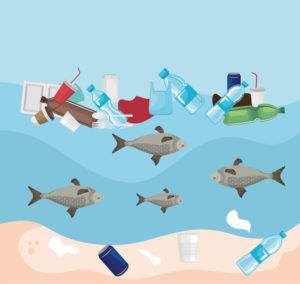 toxic plastics in the sea and fishes animals contamination vector illustration